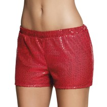 Hotpants pailletten rood