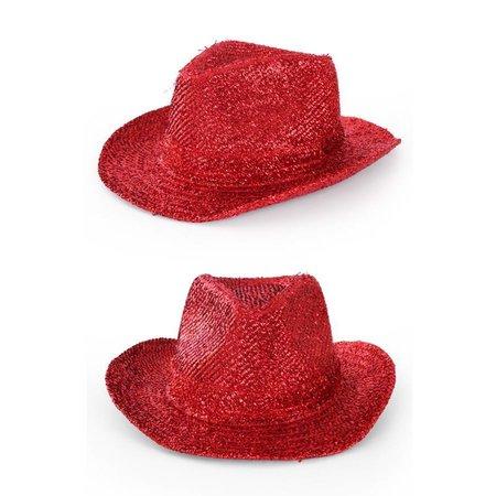 Cowboyhoed Glitter Rood
