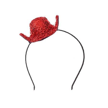 Mini cowboyhoed rood glitter op haarbeugel