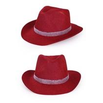 Cowboyhoed rood glitter met zilver bandje