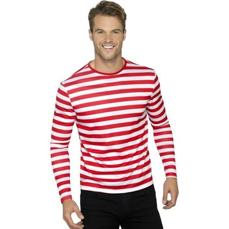 Gestreept T-shirt rood/wit man-vrouw