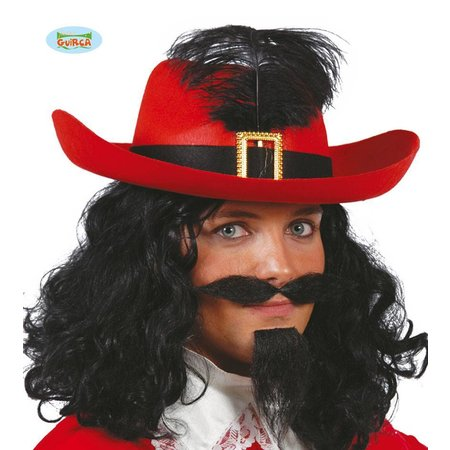 Musketier hoed rood met zwarte band