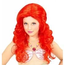 Zeemeermin pruik kind rood