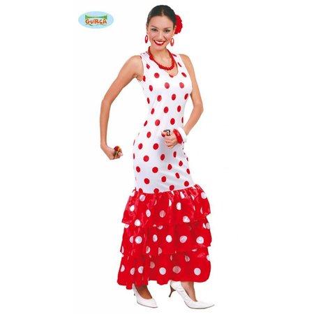 Spaanse jurk wit/rood