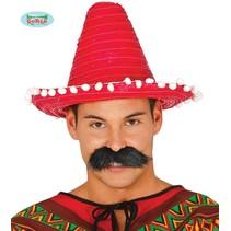 Mexicaanse sombrero rood 33cm