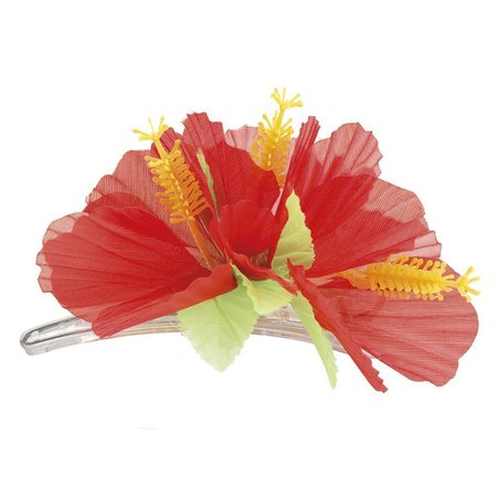 Haarbloem hibiscus rood op haarklem