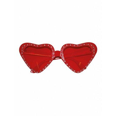 Hartjes bril rood steentjes