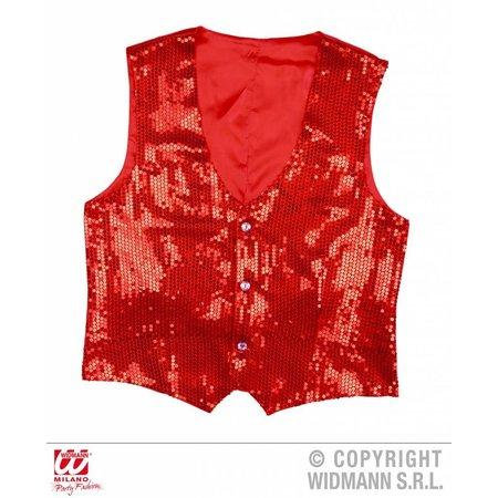Rode Gilet glitter man