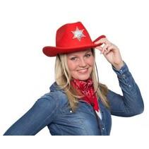 Rode Cowboy Hoed met LED