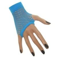 Nethandschoenen kort fluor blauw