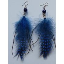 Oorbellen veer blauw/zwart