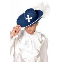 Musketiers hoed blauw
