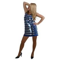 Pailletten jurk metallic pijpjes blauw/zilver