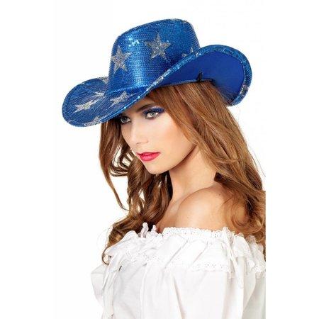 Cowboyhoed pailletten ster blauw