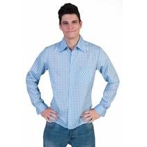 Tiroler blouse blauw/wit
