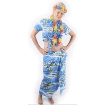 Hawaii kostuum dames blauw 2-delig