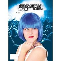 Pruik sensation bobline blauw