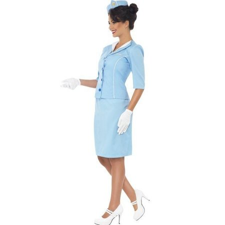 Air Hostess kostuum blauw