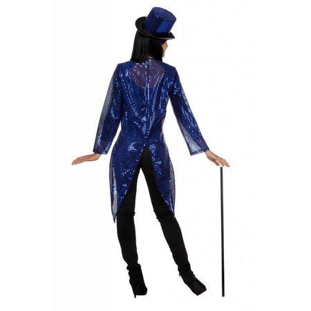 Pailletten frack jas blauw vrouw