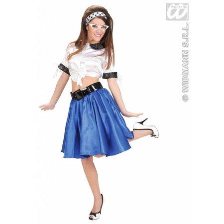 Satijnen rokje met petticoat blauw
