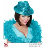 Fedora hoed pailletten blauw