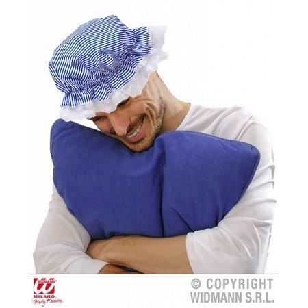 Slaapmuts kort blauw/wit gestreept