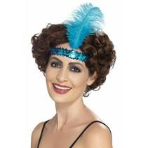 Flapper hoofdband blauw met veer