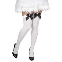 Pantykousen wit met zwarte strik
