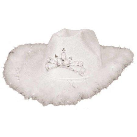 Cowboyhoed Deluxe kleur wit met verlichting