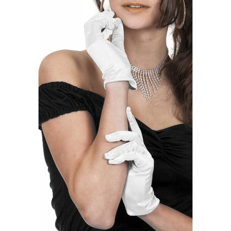 Gala handschoenen wit satijn 20cm