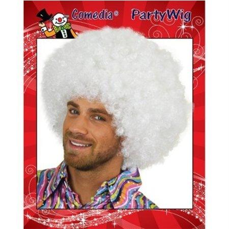 Witte Afro pruik