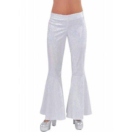 Disco broek pailletten wit vrouw