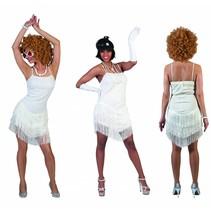 Glitter jurkje met franjes wit