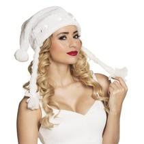 Witte kerstmuts met vlechten en LED