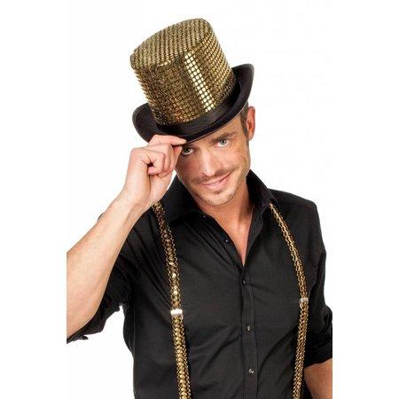 Hoge hoed paillettenstof goud