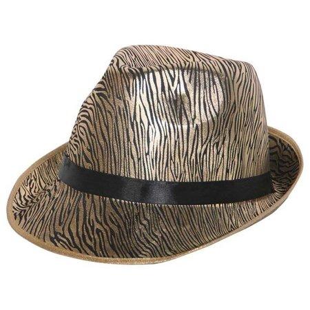 Trilby hoed fabric pinstripe goud