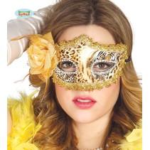 Oogmasker luipaard goud