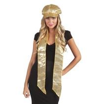 Sjaal pailletten goud 170x9cm
