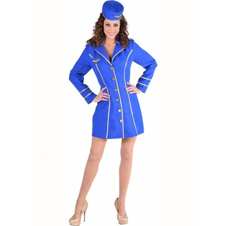 Stewardess kostuum vrouw kobalt