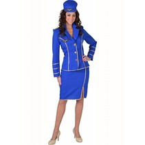 Stewardess kostuum 50's kobalt classic