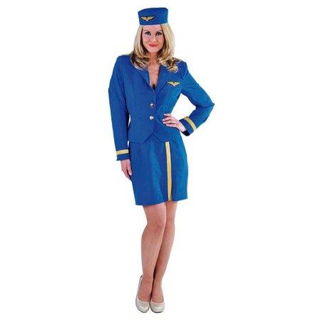 Stewardess kostuum kobalt luxe