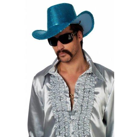 Cowboy glamour hoed pailletten turquoise
