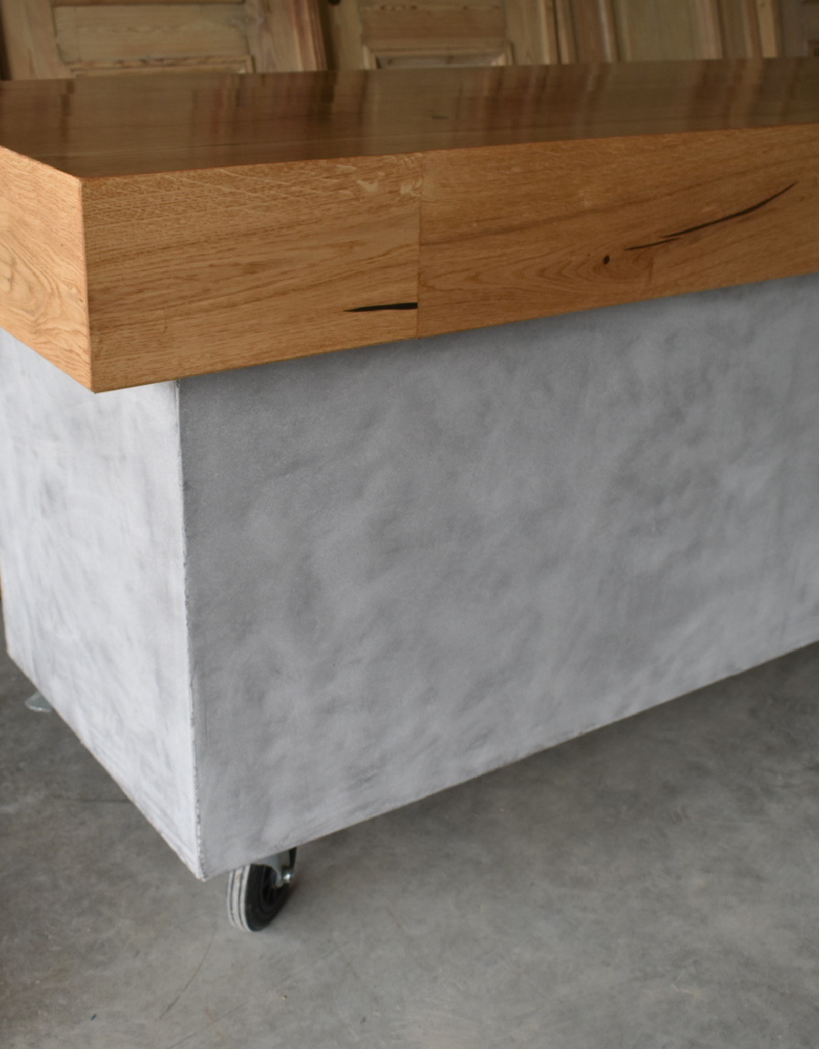 Moderner Theke Beton und Holz Vintage / Industrie