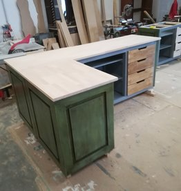 Corner counter / bar / reception all dimensions  with Beech Top