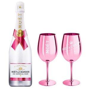 Moet & Chandon Ice Rosé champagne met 2 roze glazen
