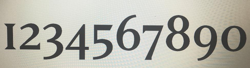 Cijfers in Moët & Chandon font
