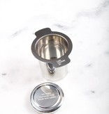 Light double handed stainless fine-grained tea filter.