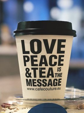 'Love, Peace & Tea is the message' take away