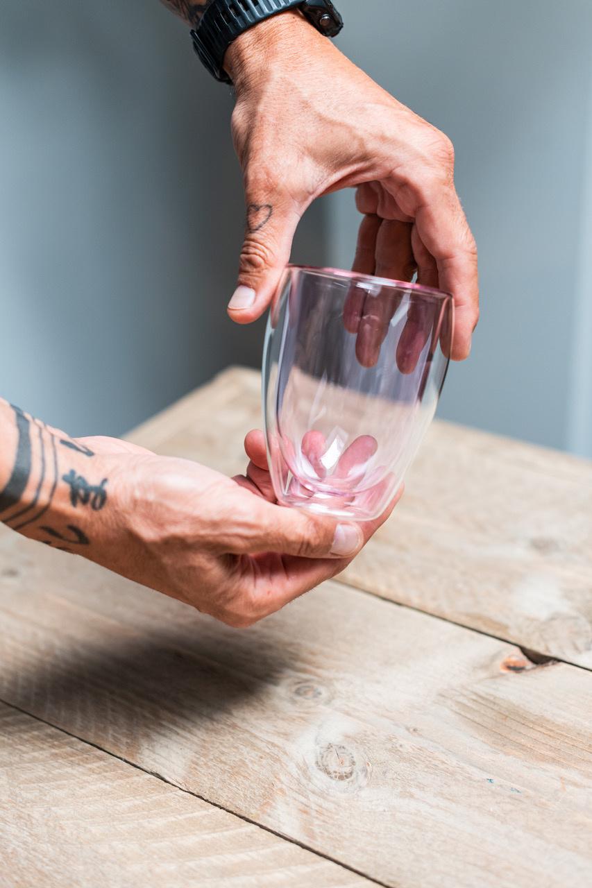 Design dubbelwandig glas roze