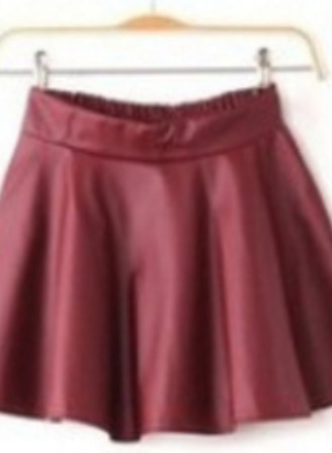 Skater Skirt (bordeaux) Rood Leather Look